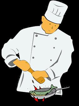 En kock steker fisk i en stekpanna