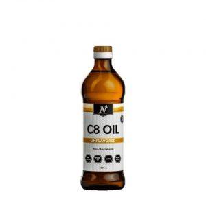 Bild på en flaska med MCT C8 från Nyttoteket
