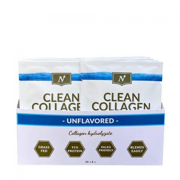 Kartong med portionsförpackningar av Clean Collagen från Nyttoteket