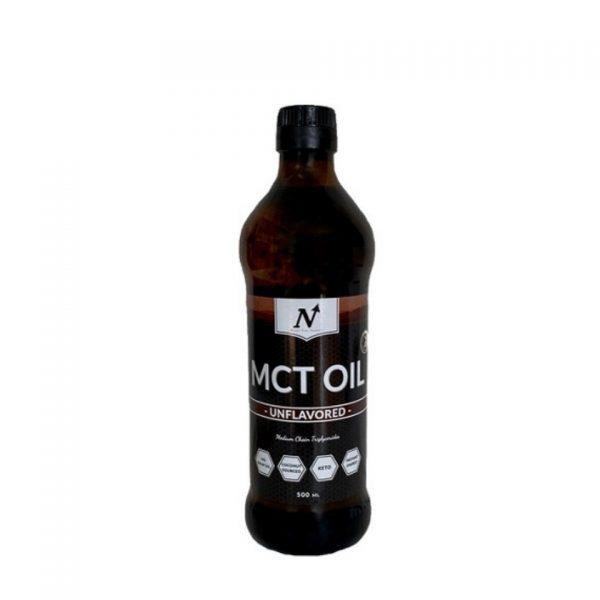 En flaska med MCT olja från Nyttoteket