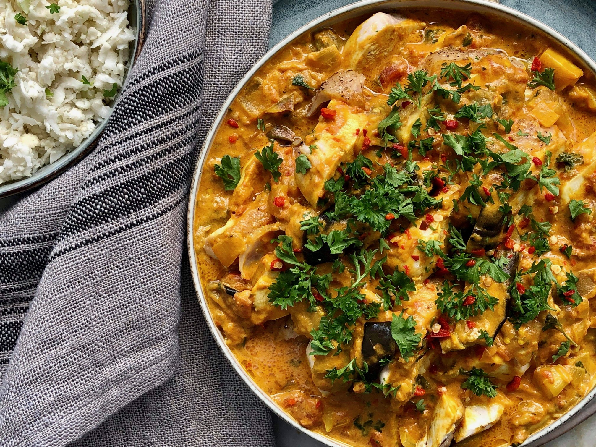 Kycklingcurry med aubergine